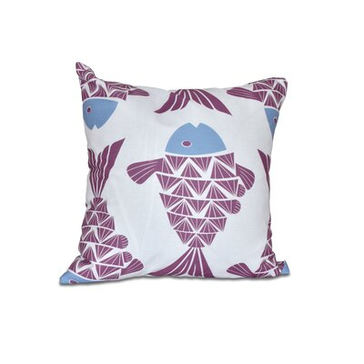 Grand Ridge Big Fish Coastal Outdoor Throw Pillow Size: 18 H x 18 W, Color: Purple
