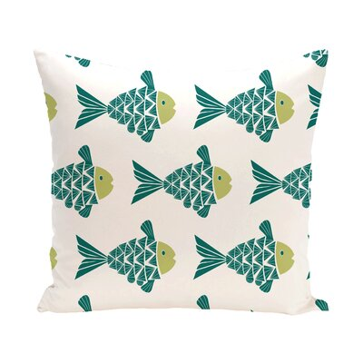 Grand Ridge Fish Tales Coastal Outdoor Throw Pillow Size: 20 H x 20 W, Color: Teal