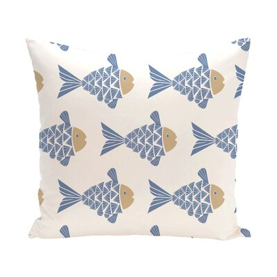 Grand Ridge Fish Tales Coastal Outdoor Throw Pillow Size: 18 H x 18 W, Color: Blue