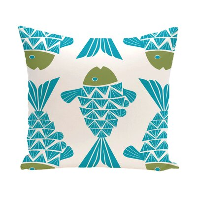 Grand Ridge Big Fish Coastal Throw Pillow Size: 16 H x 16 W, Color: Turquoise