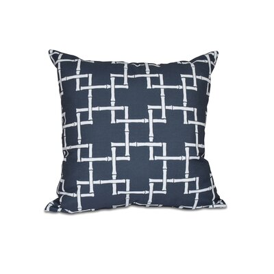 Connelly Bamboo 1 Geometric Throw Pillow Size: 16 H x 16 W, Color: Navy Blue