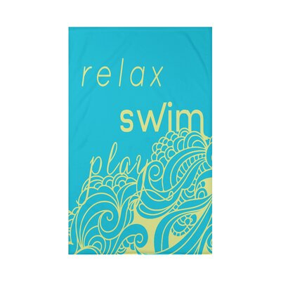 Grand Ridge Mellow Mantra Word Fleece Throw Blanket Size: 60 L x 50 W x 0.5 D, Color: Turquoise