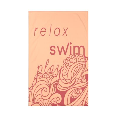Grand Ridge Mellow Mantra Word Fleece Throw Blanket Size: 60 L x 50 W x 0.5 D, Color: Peach