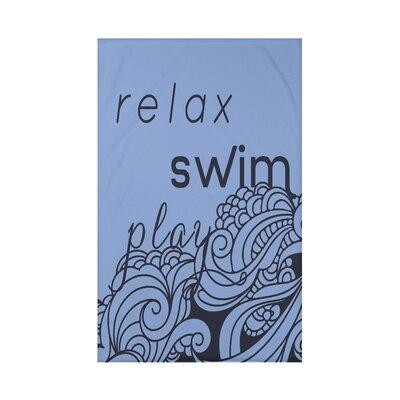Grand Ridge Mellow Mantra Word Fleece Throw Blanket Size: 60 L x 50 W x 0.5 D, Color: Blue