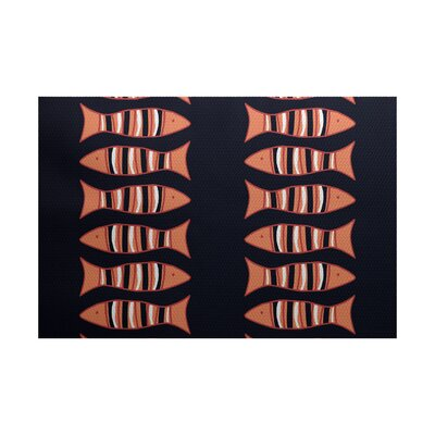 Grand Ridge Navy Blue/Orange Indoor/Outdoor Area Rug Rug Size: 2 x 3