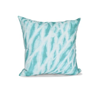 Grand Ridge Shibori Stripe Geometric Outdoor Throw Pillow Color: Teal, Size: 16 H x 16 W