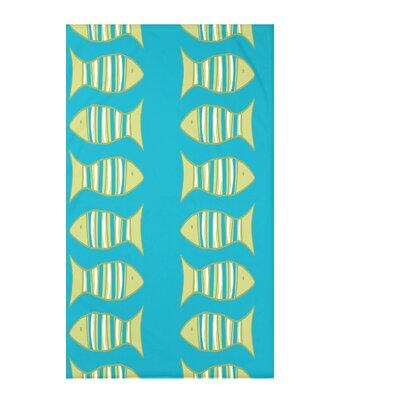 Grand Ridge Somethings Fishy Coastal Fleece Throw Blanket Size: 60 L x 50 W x 0.5 D, Color: Turquoise