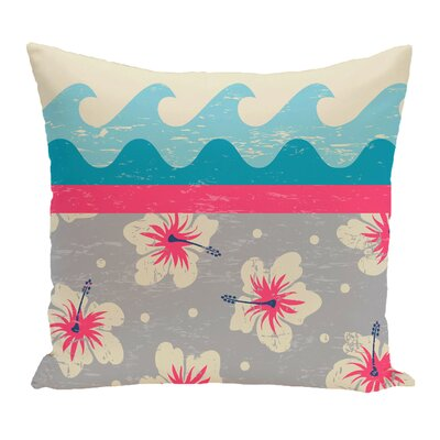 Golden Beach Floral Throw Pillow Size: 18 H x 18 W, Color: Pink