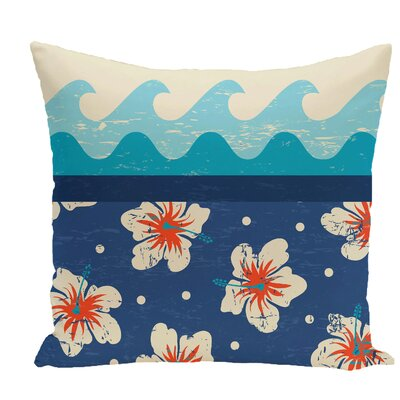 Golden Beach Floral Throw Pillow Color: Blue, Size: 20 H x 20 W