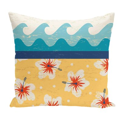 Golden Beach Floral Throw Pillow Size: 16 H x 16 W, Color: Yellow