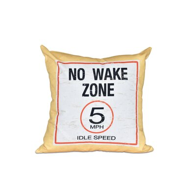 Golden Beach No Wake Word Outdoor Throw Pillow Size: 18 H x 18 W, Color: Yellow