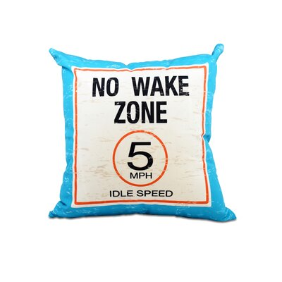 Golden Beach No Wake Word Outdoor Throw Pillow Size: 20 H x 20 W, Color: Turquoise