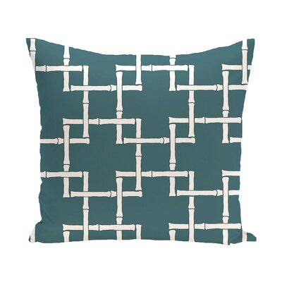 Connelly Bamboo Geometric Outdoor Throw Pillow Color: Teal, Size: 16 H x 16 W