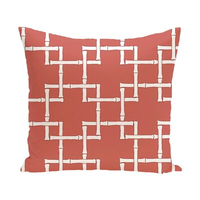 Connelly Bamboo Geometric Outdoor Throw Pillow Size: 18 H x 18 W, Color: Coral
