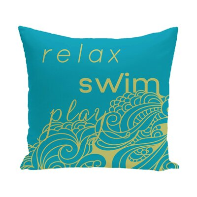 Grand Ridge Mellow Mantra Word Throw Pillow Size: 26 H x 26 W, Color: Turquoise