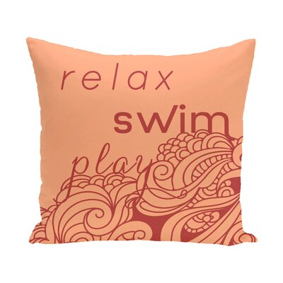 Grand Ridge Mellow Mantra Word Outdoor Throw Pillow Size: 16 H x 16 W, Color: Turquoise