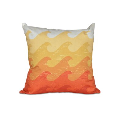 Golden Beach Deep Sea Geometric Outdoor Throw Pillow Size: 18 H x 18 W, Color: Yellow/Orange