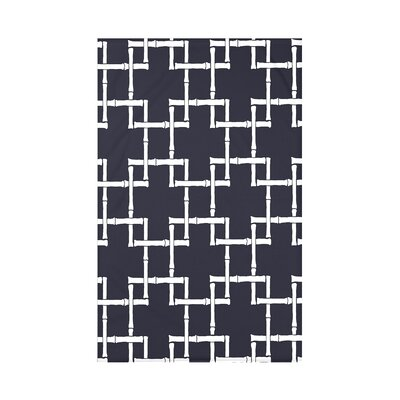 Connelly Bamboo 1 Geometric Fleece Throw Blanket Size: 60 L x 50 W x 0.5 D, Color: Navy Blue