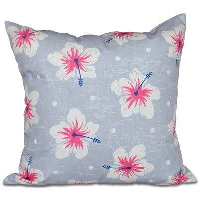 Golden Beach Hibiscus Blooms Floral Outdoor Throw Pillow Size: 18 H x 18 W, Color: Gray