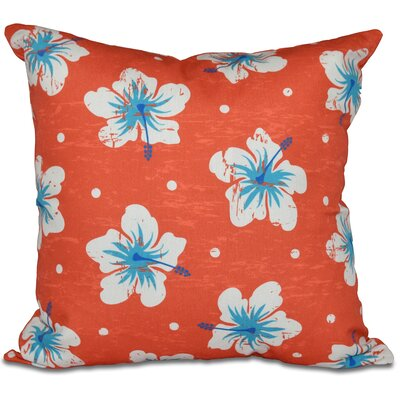 Golden Beach Hibiscus Blooms Floral Outdoor Throw Pillow Size: 18 H x 18 W, Color: Orange
