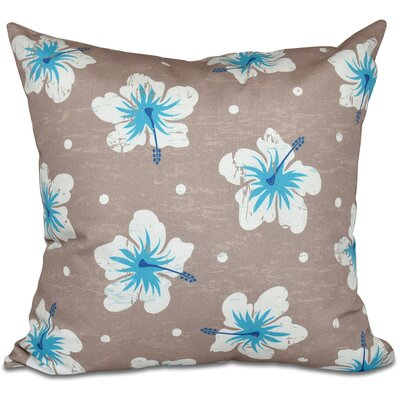 Golden Beach Hibiscus Blooms Floral Outdoor Throw Pillow Size: 18 H x 18 W, Color: Beige/Taupe