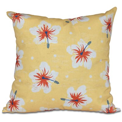 Golden Beach Hibiscus Blooms Floral Outdoor Throw Pillow Size: 18 H x 18 W, Color: Yellow
