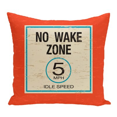 Golden Beach No Wake Word Throw Pillow Size: 18 H x 18 W, Color: Orange