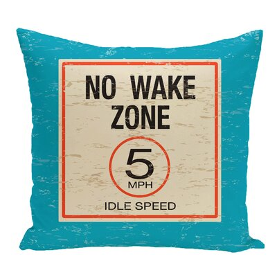 Golden Beach No Wake Word Throw Pillow Color: Turquoise, Size: 18