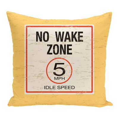 Golden Beach No Wake Word Throw Pillow Size: 16