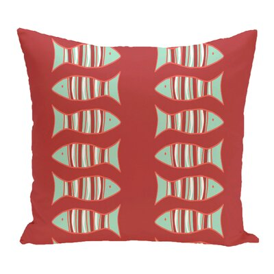 Grand Ridge Somethings Fishy Coastal Outdoor Throw Pillow Size: 18 H x 18 W, Color: Coral