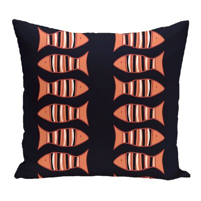 Grand Ridge Somethings Fishy Coastal Outdoor Throw Pillow Size: 18 H x 18 W, Color: Navy Blue