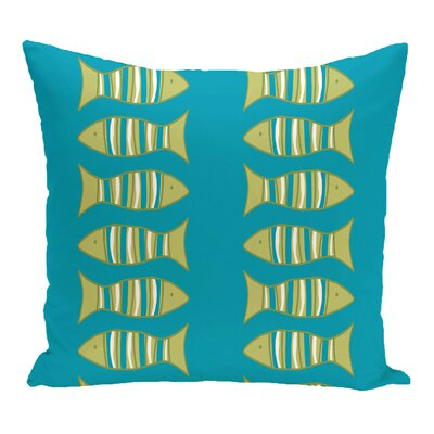 Grand Ridge Somethings Fishy Coastal Outdoor Throw Pillow Size: 18 H x 18 W, Color: Turquoise