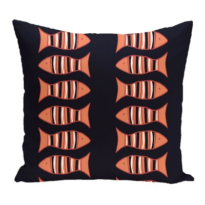 Grand Ridge Somethings Fishy Coastal Outdoor Throw Pillow Color: Purple, Size: 16 H x 16 W
