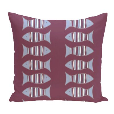Grand Ridge Somethings Fishy Coastal Outdoor Throw Pillow Size: 18 H x 18 W, Color: Purple