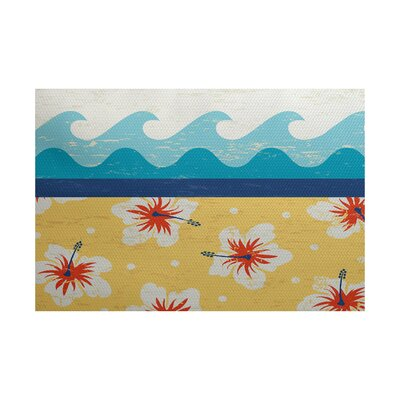Golden Beach Yellow Indoor/Outdoor Area Rug Rug Size: 5 x 7