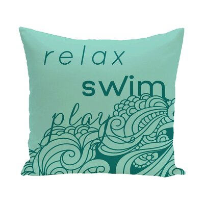 Grand Ridge Mellow Mantra Word Outdoor Throw Pillow Size: 20 H x 20 W, Color: Aqua
