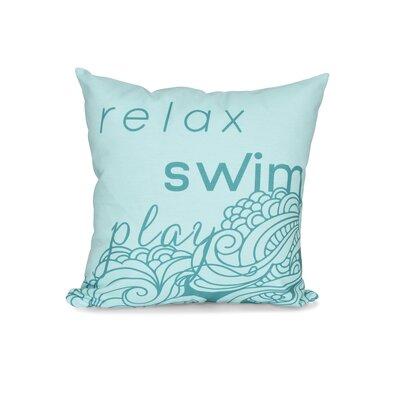 Grand Ridge Mellow Mantra Word Outdoor Throw Pillow Size: 18 H x 18 W, Color: Aqua