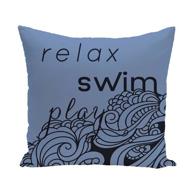 Grand Ridge Mellow Mantra Word Outdoor Throw Pillow Size: 20 H x 20 W, Color: Blue