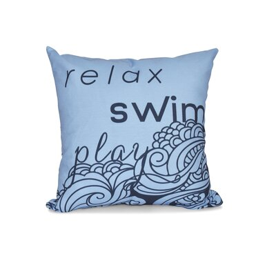Grand Ridge Mellow Mantra Word Outdoor Throw Pillow Size: 18 H x 18 W, Color: Blue