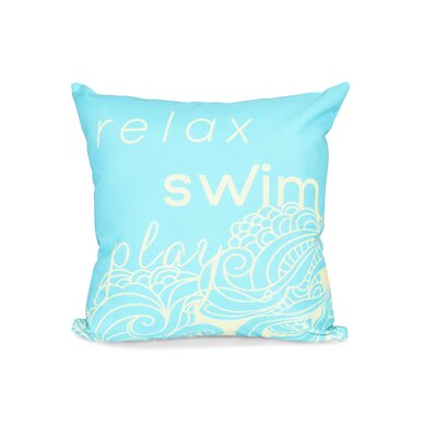 Grand Ridge Mellow Mantra Word Outdoor Throw Pillow Size: 18 H x 18 W, Color: Turquoise