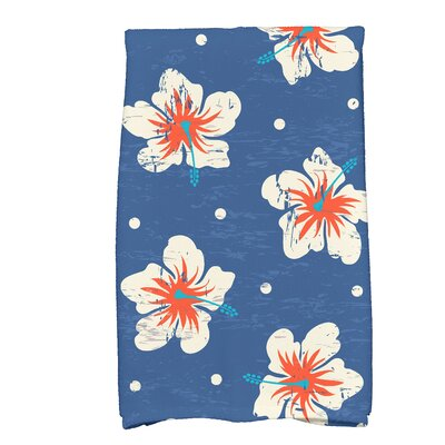 Golden Beach Hibiscus Blooms Floral Print Hand Towel Color: Blue