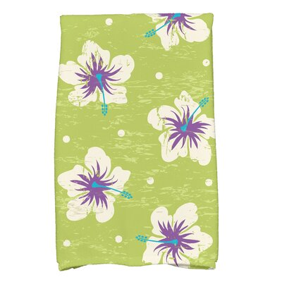 Golden Beach Hibiscus Blooms Floral Print Hand Towel Color: Light Green