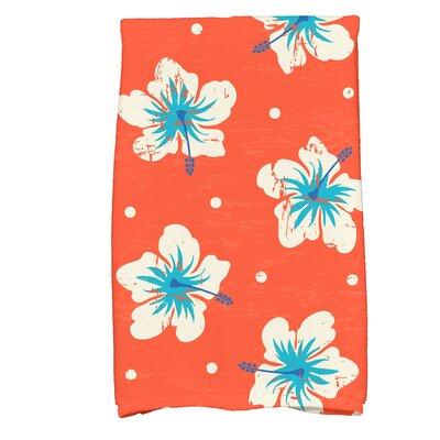 Golden Beach Hibiscus Blooms Floral Print Hand Towel Color: Orange