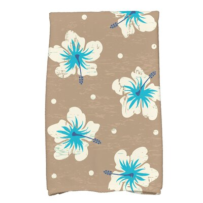 Golden Beach Hibiscus Blooms Floral Print Hand Towel Color: Beige/Taupe