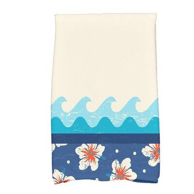Golden Beach Hang Ten Floral Print Hand Towel Color: Blue