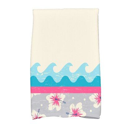 Golden Beach Hang Ten Floral Print Hand Towel Color: Pink
