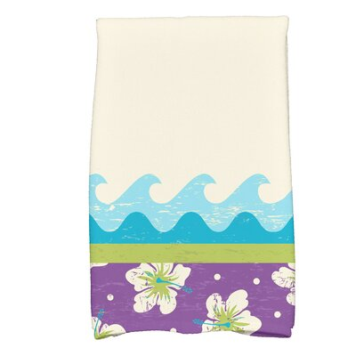 Golden Beach Hang Ten Floral Print Hand Towel Color: Light Green