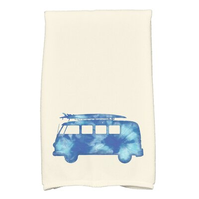 Golden Beach Beach Drive Transportation Print Hand Towel Color: Blue