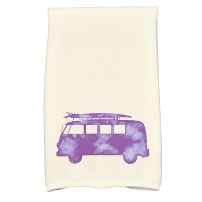 Golden Beach Beach Drive Transportation Print Hand Towel Color: Purple