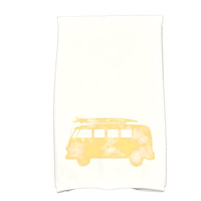 Golden Beach Beach Drive Transportation Print Hand Towel Color: Yellow